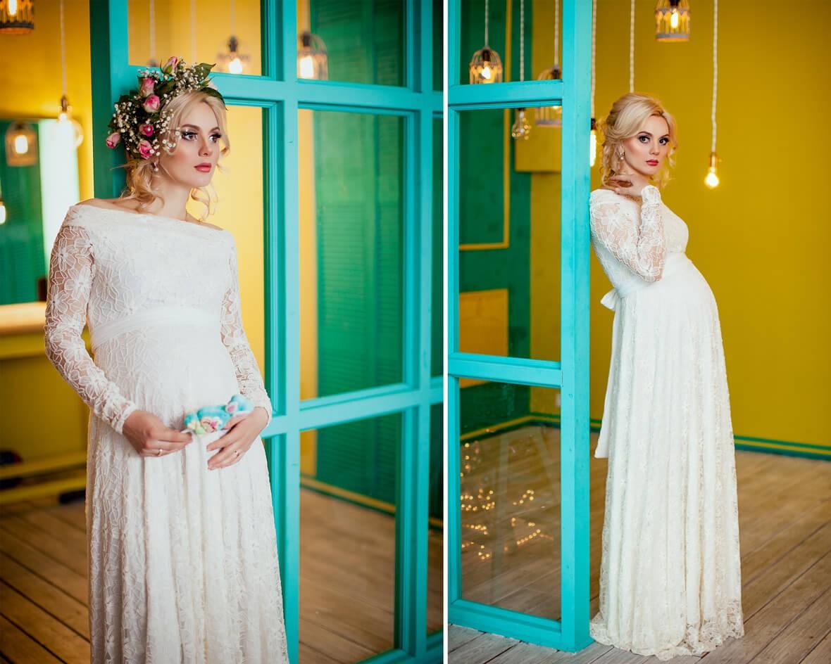 Беременная Даша в белом платье