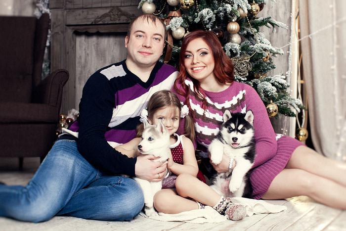 Семейная фотосессия с собаками