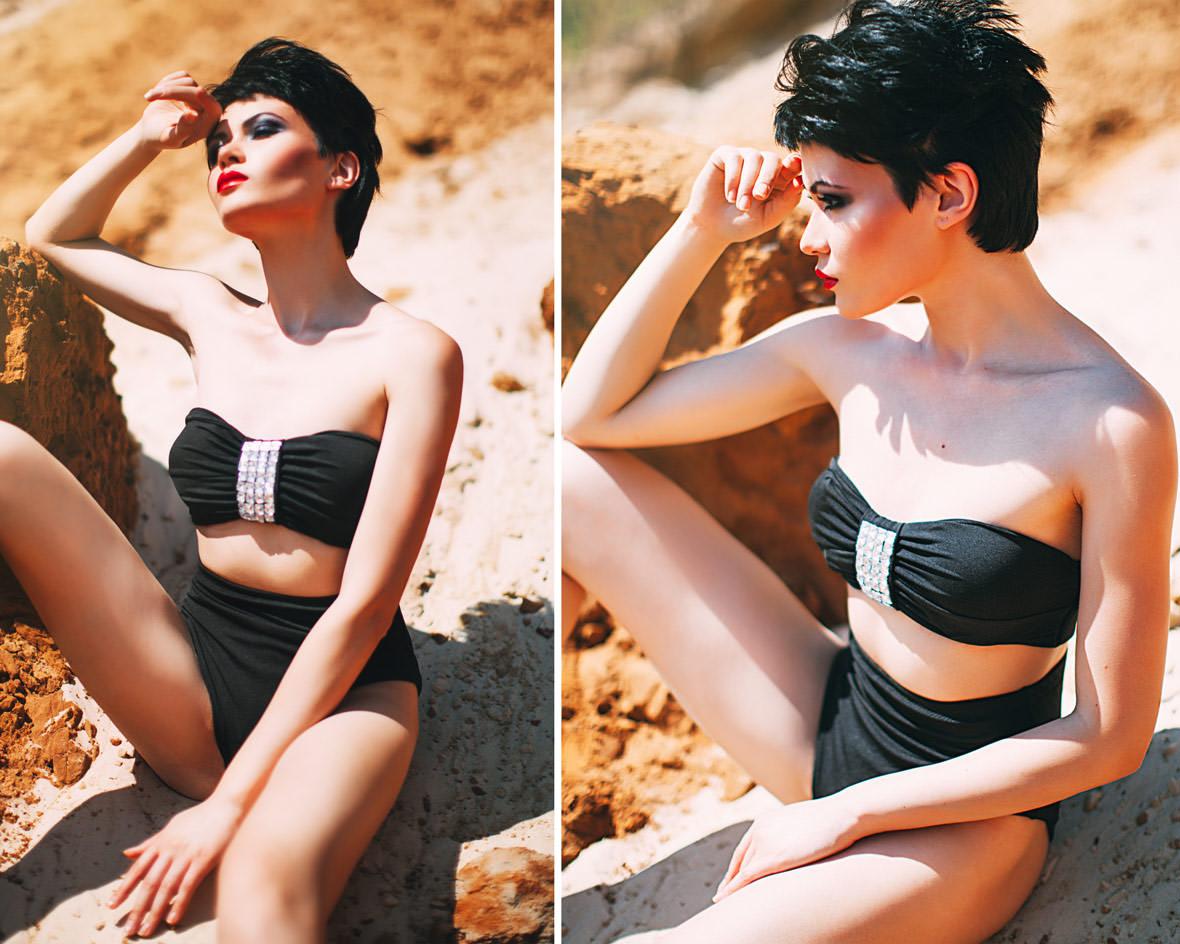 Девушка в черном купальнике