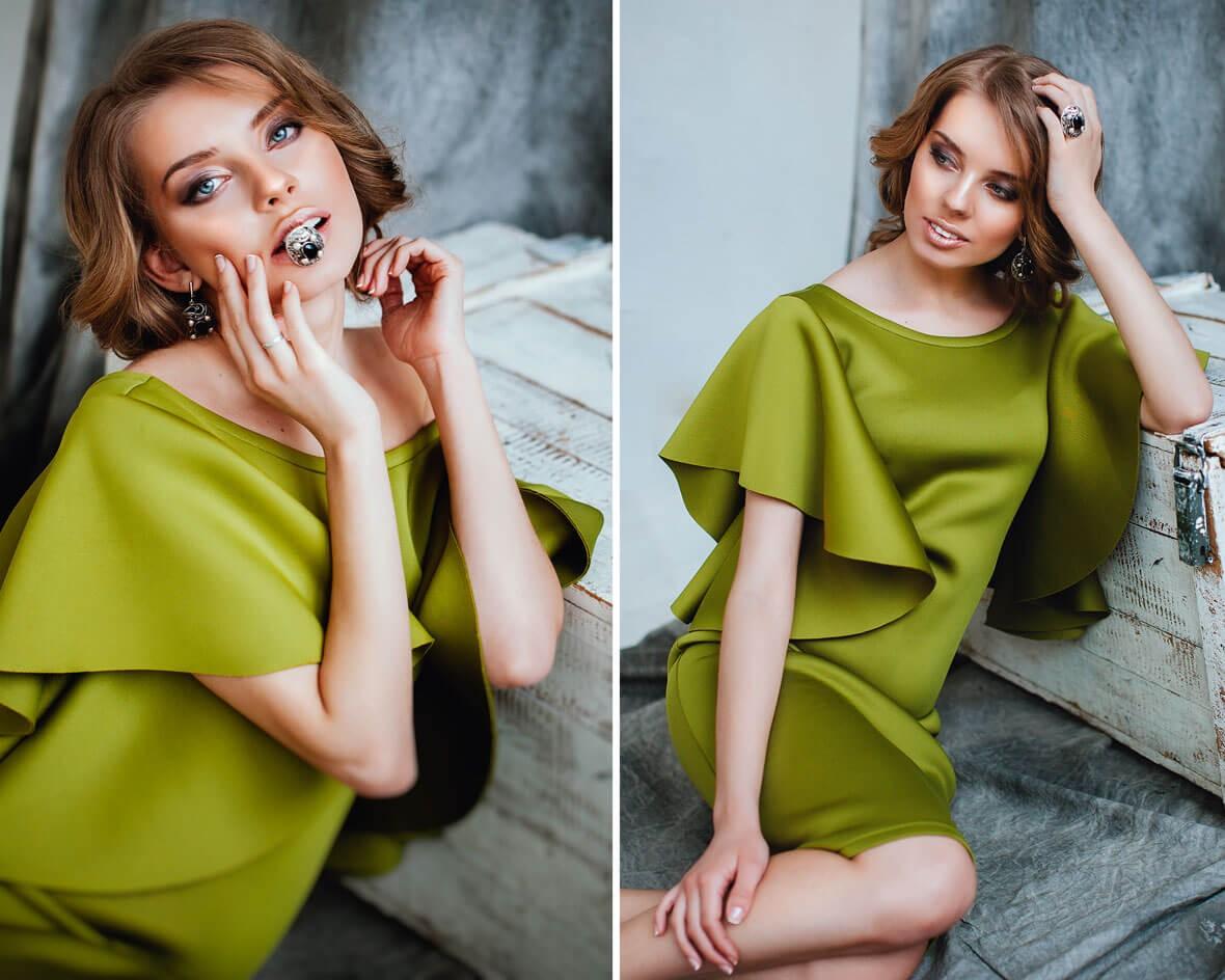 Фотомодель в болотного цвета платье