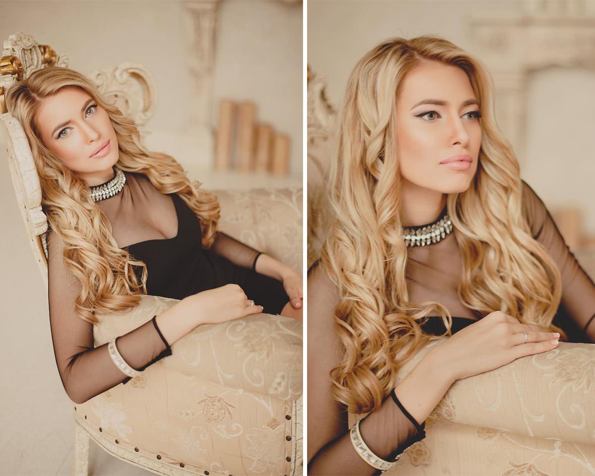 Блондинка в кресле в студии