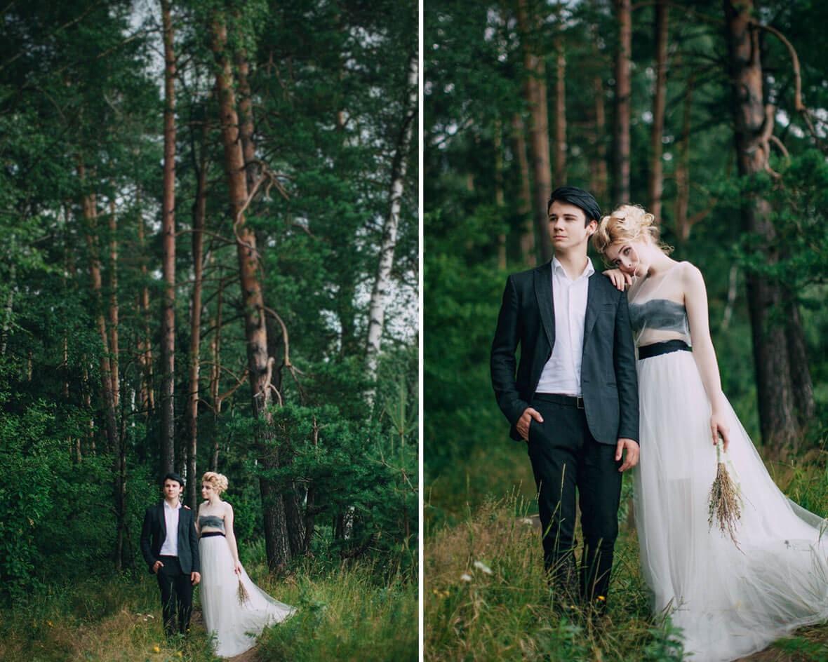 Молодожены в лесу