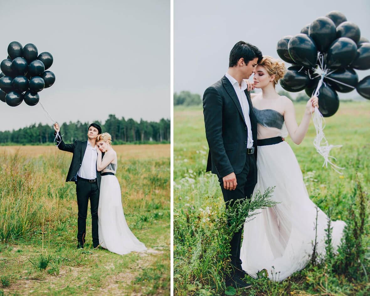 Жених и невеста с воздушными шарами