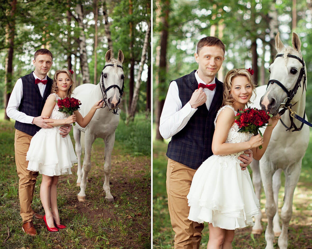 Жених и невеста с конем